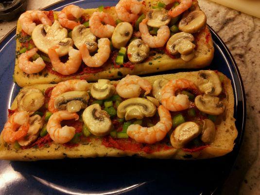 Prawn Pizza Ciabatta