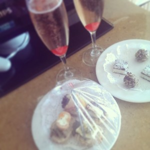 free fizz, petit fours and canapes!