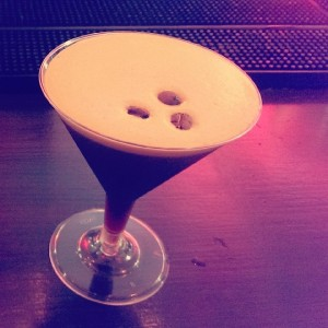 Espresso Martini complete with three coffee beans on top