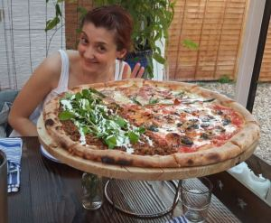 A large pizza at Pi Woodfired in Winchester!