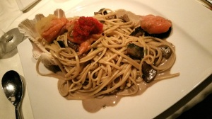 Linguine with smoked salmon, wild mushrooms and roe